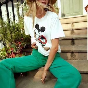 Zara Green Wide Leg High Rise Five Pocket Jeans 10